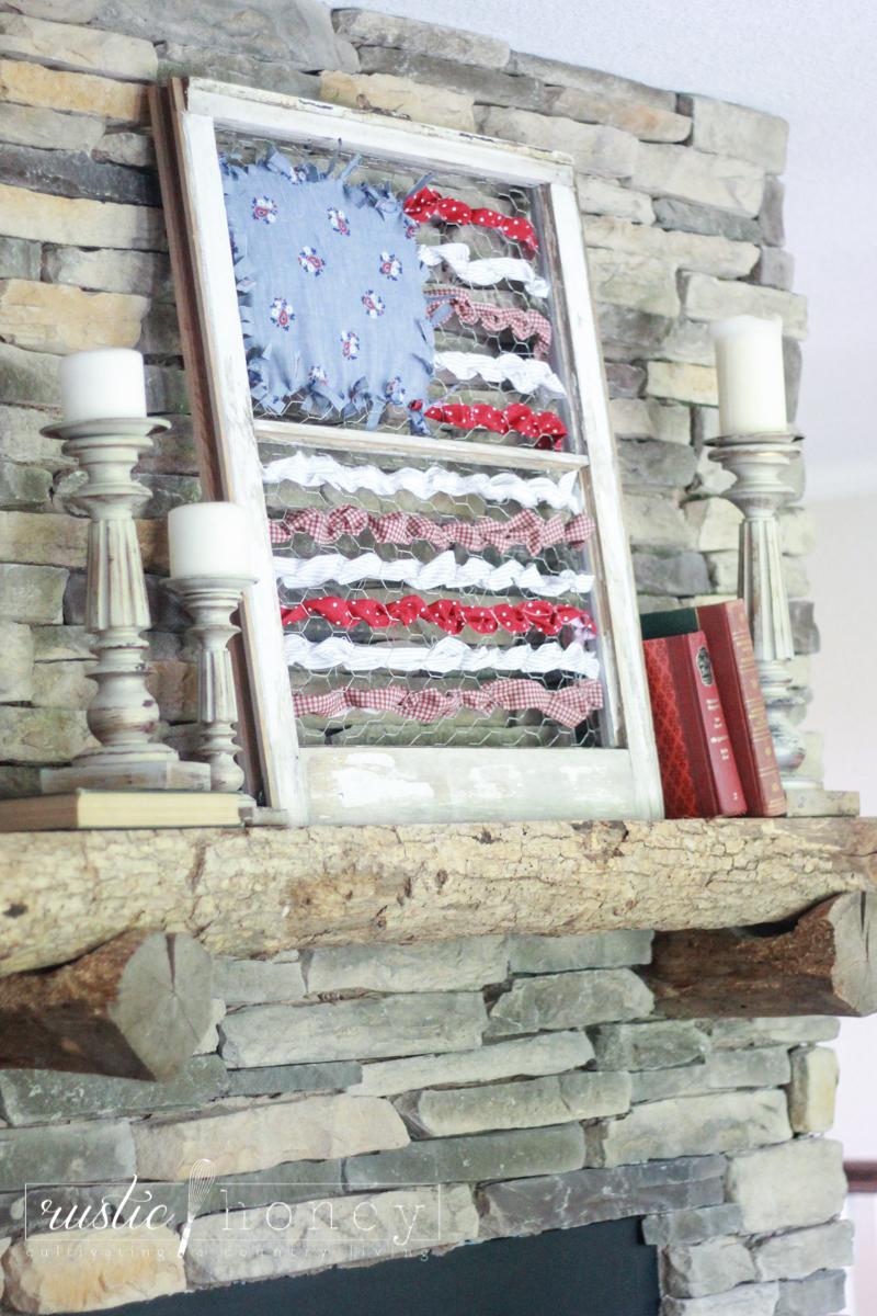 patriotic flag DIY decor fabric scraps 15 of 18 Rustic